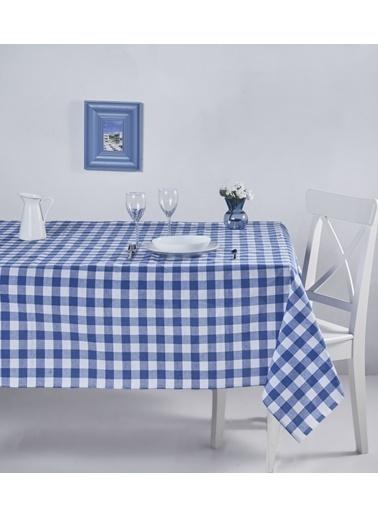 Denizli Concept Kareli Masa Örtüsü 160x220 Mavi